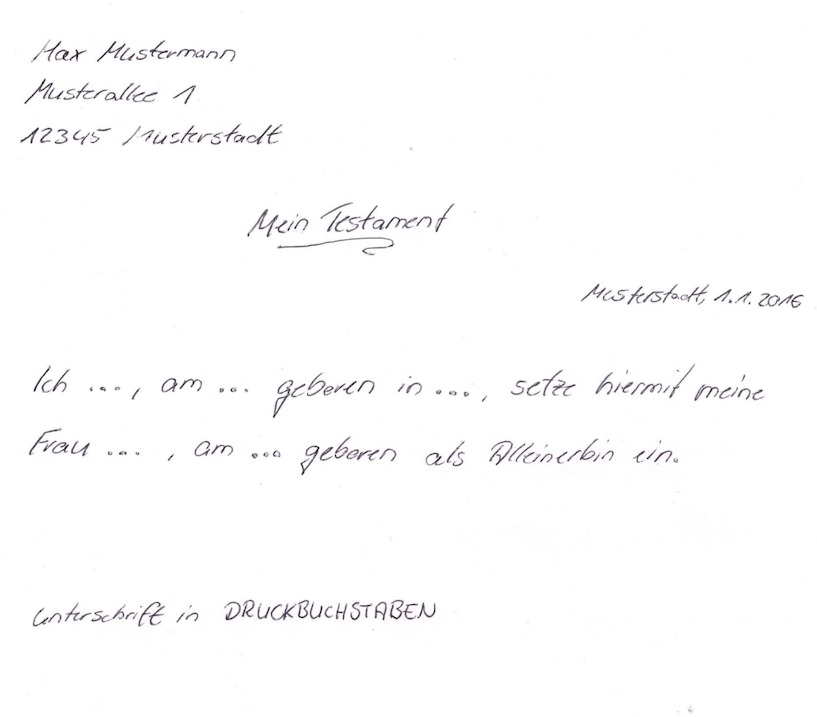 handschriftliches testament muster testament testament - Erbvertrag Muster